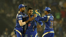 Shreyas Gopal is congratulated after a wicket, Rajasthan Royals v Mumbai Indians, IPL 2015, Ahmedabad, April 14, 2015