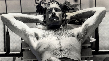 Dennis Lillee relaxes by the pool