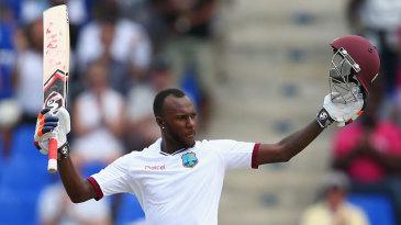 Jermaine Blackwood celebrates his maiden Test hundred