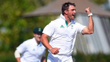 Hardus Viljoen celebrates a wicket
