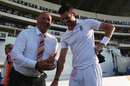 Record-holders old and new: Ian Botham chats to James Anderson, West Indies v England, 1st Test, North Sound, 5th day, April 17, 2015