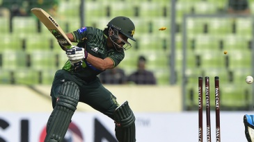 Fawad Alam was bowled by an arm-ball