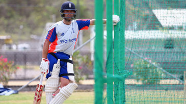 Jonathan Trott waits for his turn in the nets