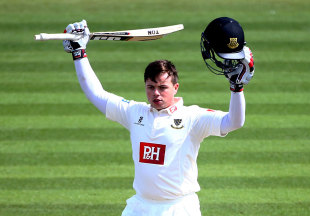 Matt Machan celebrates his rapid hundred