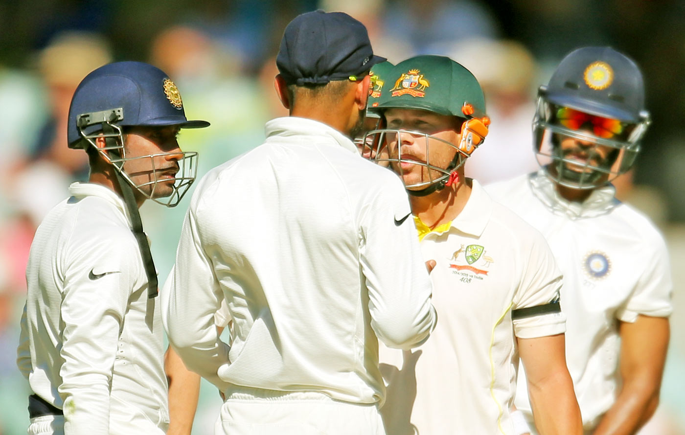 All up in your grill: Warner is happy to get into confrontations and has his team's backing when he does