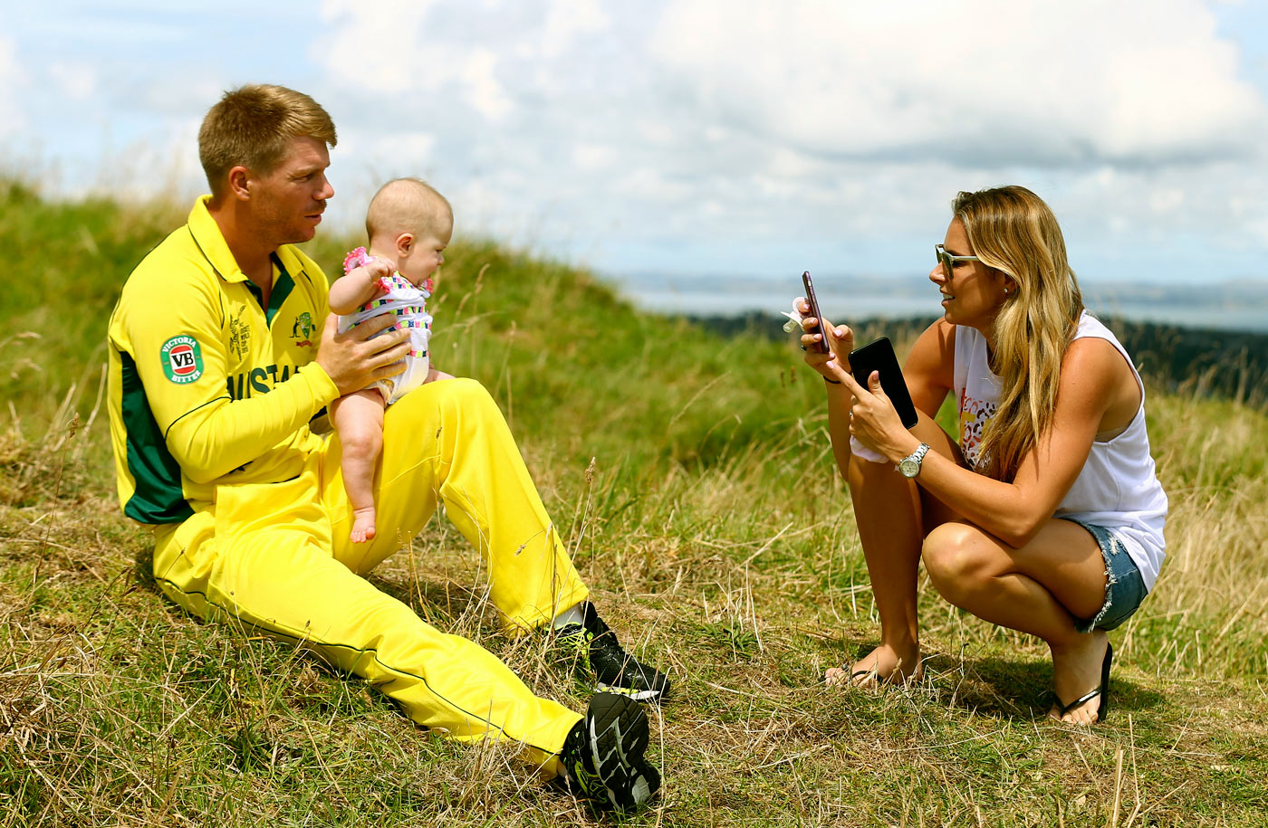 With partner Candice Falzon and daughter Ivy at Mt Eden, Auckland, during the 2015 World Cup