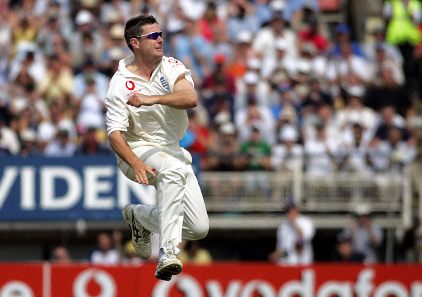 Off to a flier: Giles celebrates one of his four wickets in the first innings against West Indies at Edgbaston later in 2004
