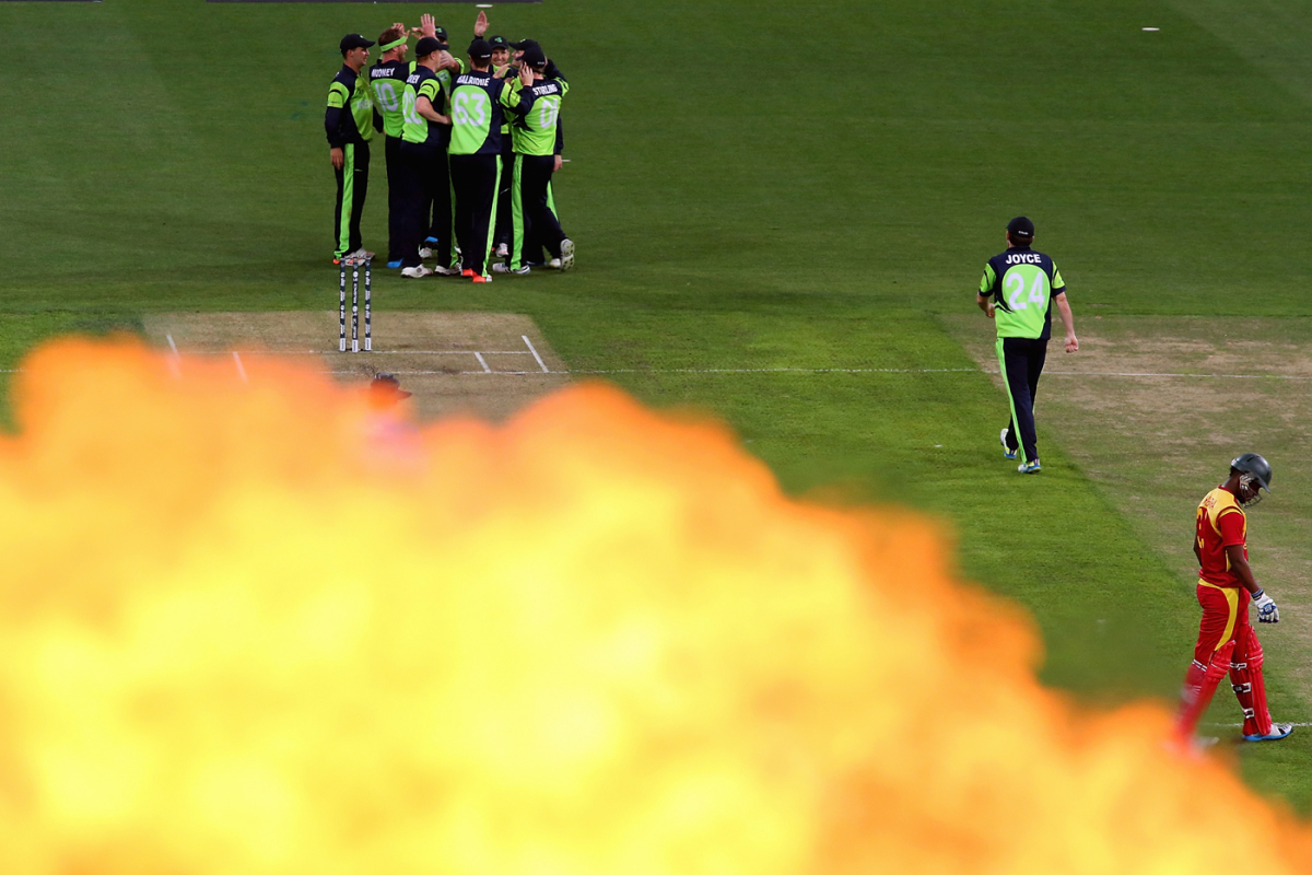 Fireworks go off as Ireland celebrate a wicket