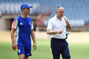 Jonathan Trott takes a walk with national selector James Whitaker, Grenada, April 20, 2015