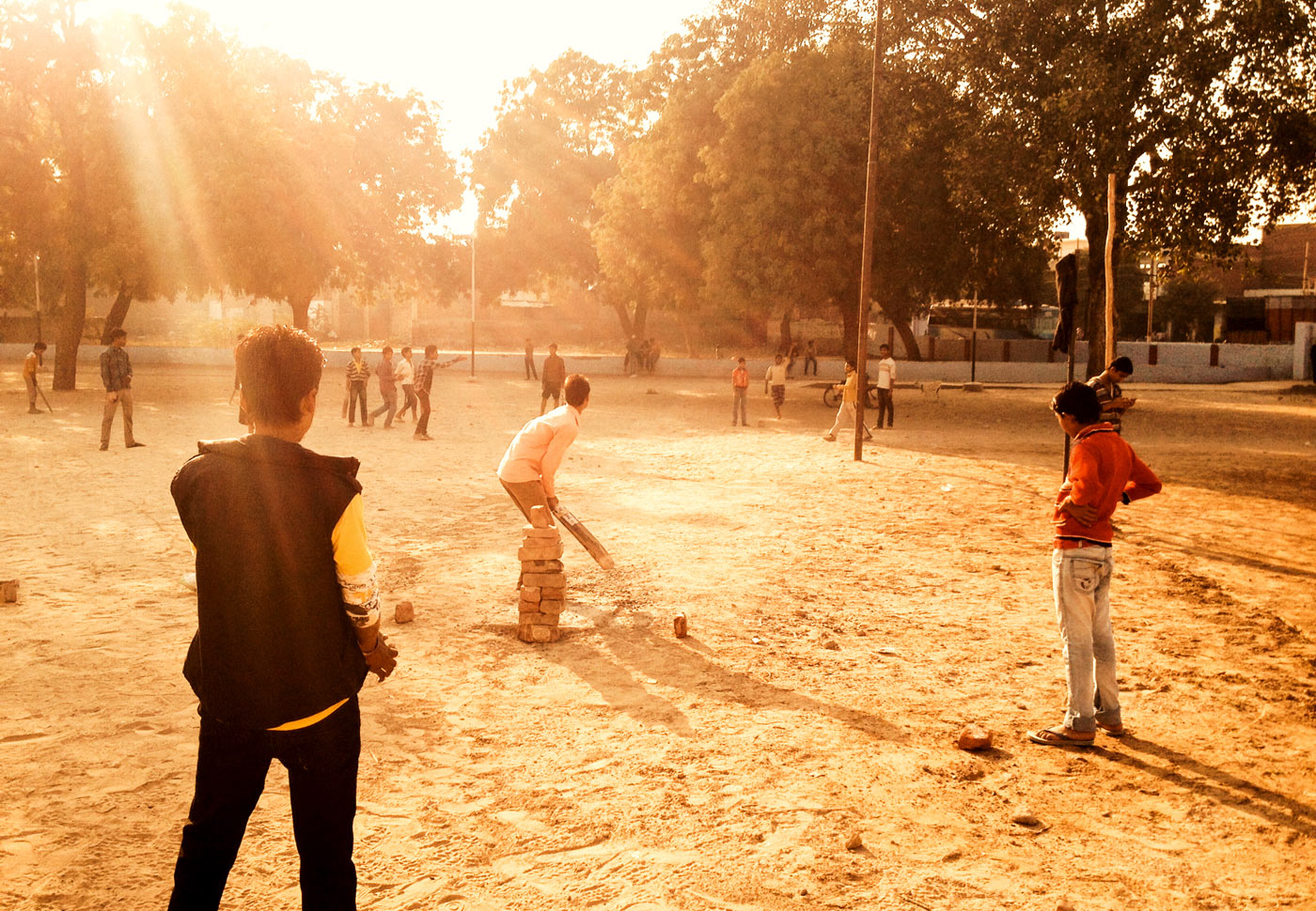 After-school delights: evening games in a temple ground in Agra
