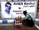 A poster in memory of Ankit Keshri, the Bengal player who died in hospital, Kolkata, April 21, 2015