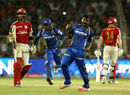 Rahul Tewatia is ecstatic after dismissing Glenn Maxwell, Rajasthan Royals v Kings XI Punjab, IPL 2015, Ahmedabad, April 21, 2015