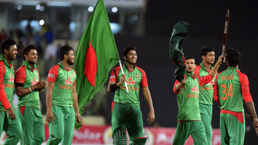 The Bangladesh team celebrate their 3-0 series win over Pakistan