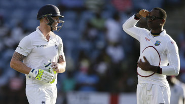 Marlon Samuels salutes Ben Stokes after his dismissal