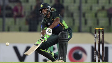 Debutant Mukhtar Ahmed attempts a ramp shot