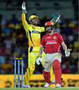 MS Dhoni exults after taking a catch to dismiss George Bailey, Chennai Super Kings v Kings XI Punjab, IPL 2015, Chennai, April 25, 2015