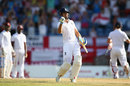 Alastair Cook celebrates the moment of victory, West Indies v England, 2nd Test, St George's, 5th day, April 25, 2015
