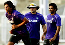 India's bowling coach Joe Dawes with Ishant Sharma and Zaheer Khan, Mumbai, November 9, 2012