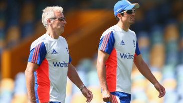Peter Moores and Alastair Cook at England training