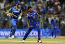 Vinay Kumar exults after the win, Mumbai Indians v Rajasthan Royals, IPL 2015, Mumbai, May 1, 2015