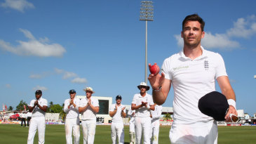 James Anderson takes the applause for his six-for