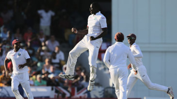 West Indies flying: Jason Holder celebrates a wicket