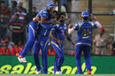 Harbhajan Singh celebrates a wicket with his team-mates, Kings XI Punjab v Mumbai Indians, IPL 2015, Mohali, May 3, 2015