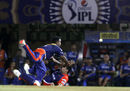 Amit Mishra crashes into Zaheer Khan while attempting a catch, Rajasthan Royals v Delhi Daredevils, IPL 2015, Mumbai, May 3, 2015
