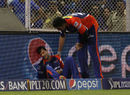 Mayank Agarawal grimaces after crashing into the advertising hoarding, Rajasthan Royals v Delhi Daredevils, IPL 2015, Mumbai, May 3, 2015
