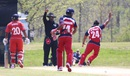 Muhammad Ghous wins a successful LBW appeal, USA v Bermuda, ICC Americas Regional T20, Indianapolis, May 3, 2015