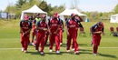 Muhammad Ghous (second from l-r) leads USA onto the field in his first match as captain, USA v Bermuda, ICC Americas Regional T20, Indianapolis, May 3, 2015
