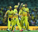Ishwar Pandey is congratulated on the wicket of AB de Villiers, Chennai Super Kings v Royal Challengers Bangalore, IPL 2015, Chennai, May 4, 2015