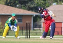 Nicholas Standford drives over cover for one of his seven fours, USA v Suriname, ICC Americas Regional T20, Indianapolis, May 4, 2015