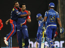 Zaheer Khan removed Lendl Simmons off the first ball, Mumbai Indians v Delhi Daredevils, IPL 2015, Mumbai, May 5, 2015