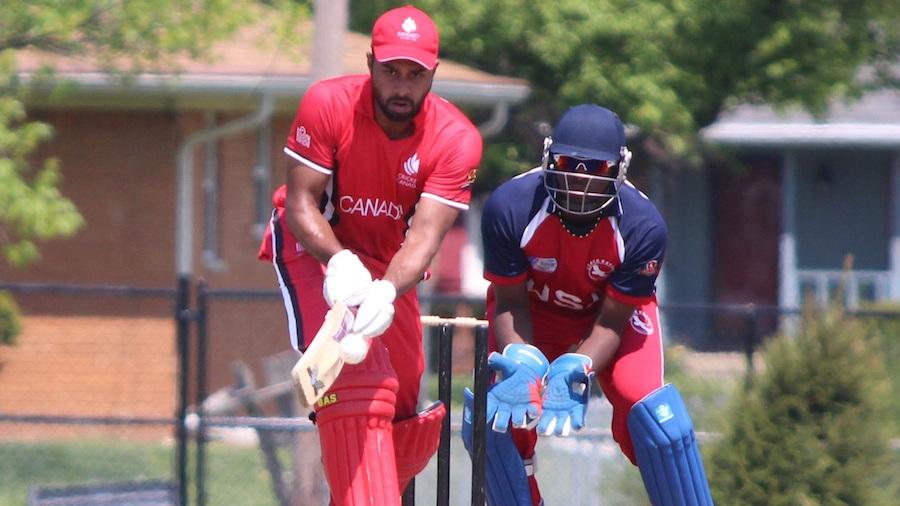 Ruvindu Gunasekera plays a shot off the back of his bat