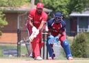 Ruvindu Gunasekera plays a shot off the back of his bat, United States of America v Canada, ICC Americas Regional T20, Indianapolis, May 5, 2015