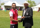 Cecil Pervez accepts his Man-of-the-Match award, United States of America v Canada, ICC Americas Regional T20, Indianapolis, May 5, 2015