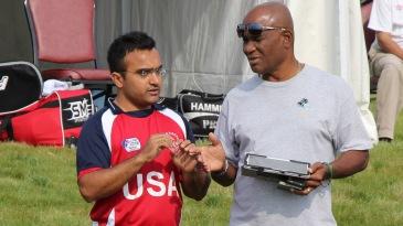 Nisarg Patel with USACA selection chairman Barney Jones