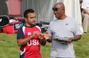 Nisarg Patel with USACA selection chairman Barney Jones, ICC Americas Regional T20, Indianapolis, May 5, 2015