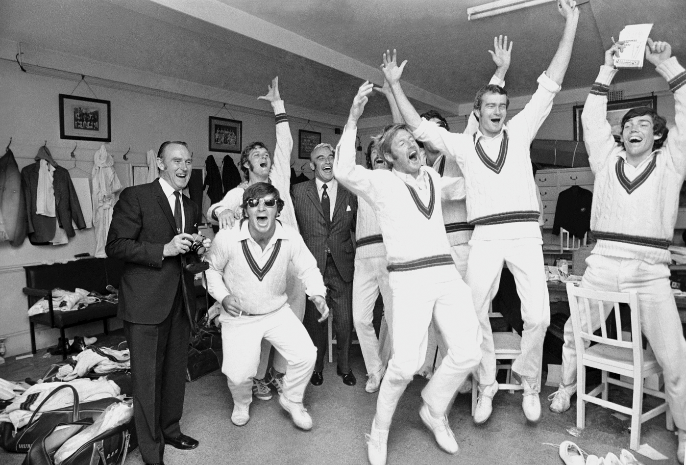 The dressing room erupts at the win. Jeffrey Hammond, not in the XI, who bowled bouncers at Chappell in the nets, is at far right