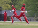 Nitish Kumar (l) and Ruvindu Gunasekera (r) run between the wickets, Bermuda v Canada, ICC Americas Regional T20, Indianapolis, May 4, 2015