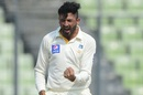 Junaid Khan is thrilled with the wicket of Tamim Iqbal, Bangladesh v Pakistan, 2nd Test, Mirpur, 2nd day, May 7, 2015