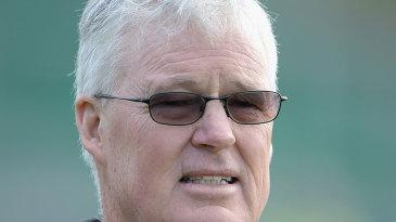 John Bracewell, Ireland's new coach, watches over training