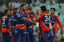 Yuvraj Singh celebrates a wicket with his team-mates, Kolkata Knight Riders v Delhi Daredevils, IPL 2015, Kolkata, May 7, 2015