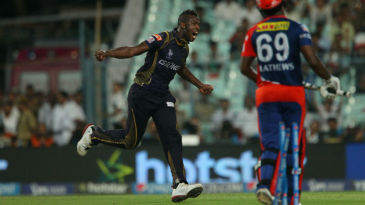 Andre Russell celebrates after dismissing Angelo Mathews