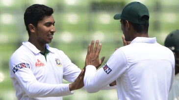 Soumya Sarkar celebrates his first Test wicket