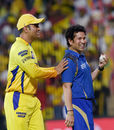 MS Dhoni and Sachin Tendulkar joke around ahead of the game, Chennai Super Kings v Mumbai Indians, IPL 2015, Chennai, May 8, 2015