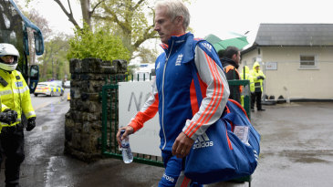 Peter Moores heads for the team bus