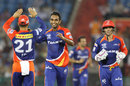 Jayant Yadav celebrates the wicket of Eoin Morgan, Delhi Daredevils v Sunrisers Hyderabad, IPL 2015, Raipur, May 9, 2015