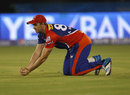 Albie Morkel takes the catch to dismiss Shikhar Dhawan, Delhi Daredevils v Sunrisers Hyderabad, IPL 2015, Raipur, May 9, 2015